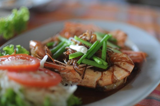 Thai shrimp on the beach