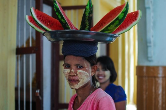Watermelon girl with thanaka